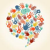 Huellas de diversidad global mano bocadillo de diálogo — Vector de stock
