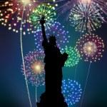 Feuerwerk frohes neues New York Stadt — Stockfoto