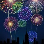 Fireworks Happy New Year city — Stock Photo #16759689