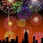 Fireworks Happy New Year city — Stock Photo