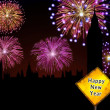 Happy New Year English fireworks — Stock Photo