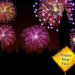 Happy New Year English fireworks — Stock Photo