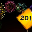 Happy New Year fireworks road sign — Stock Photo