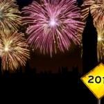 Happy New Year London fireworks — Stock Photo