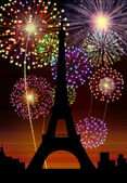 Fireworks Happy New Year Paris city — Stock Photo