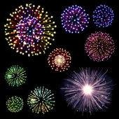 Happy New Year Fireworks set — 图库照片