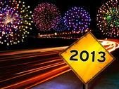 Prosit neujahr-feuerwerk-stadt — Stockfoto