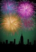 Happy New Year fireworks night city — Stock Vector