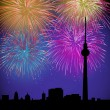 Stock Vector: Happy New Year fireworks Germany landmark