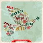 复古新年快乐 2013年和平鸽子 — 图库矢量图片