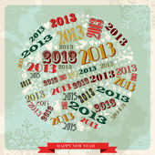Vintage Happy New year 2013 bauble — Stock Vector