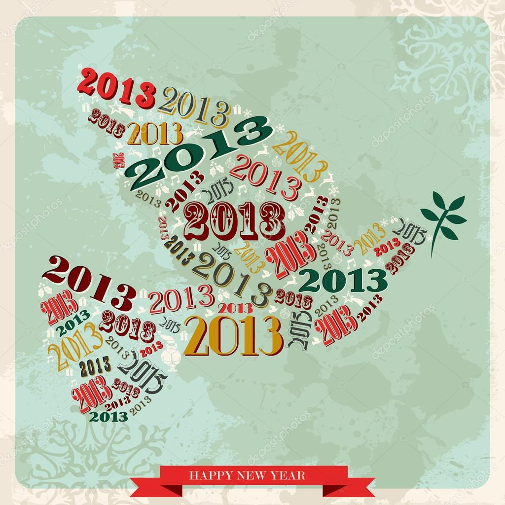 Vintage Happy New year 2013 concept numbers and xmas elements dove of peace. Vector illustration layered for easy manipulation and custom coloring. — Stock Vector #16969511