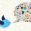 social media marketing, twitter koncepcja ptak — Grafika wektorowa
