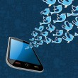 Twitter birds splash out smartphone application — Imagen vectorial