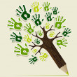 Eco friendly pencil Tree hands — Stock Vector