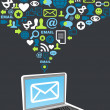 e-mail marketing spruzzata di icona di campagna — Vettoriale Stock