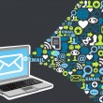 Email marketing icon splash concept — Stock Vector