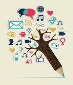 Social media networks pencil tree — Stock Vector