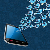 Twitter birds splash out smartphone application — Vector de stock