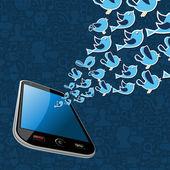 Twitter kuş splash smartphone uygulama dışarı — Stok Vektör