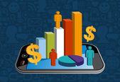 Slimme telefoon financiële activiteiten — Stockvector