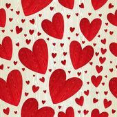Love hearts wooden pattern — Stock Vector