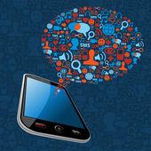 Sosyal medya kabarcık akıllı telefon — Stok Vektör