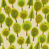 Cute seamless pattern forest — Stock Vector