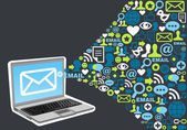 Concetto di e-mail marketing icona splash — Vettoriale Stock