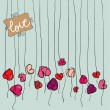 Valentine heart flowers background — Stockvektor