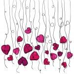 Valentine flowers hanging hearts — Stock Vector