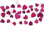 Valentine love heart flowers hanging — Stock Vector