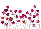 Valentine kwiaty miłość serca — Wektor stockowy