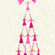 Breast cancer day pine tree - Image vectorielle