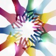 Rainbow transparency hands circle - Imagen vectorial