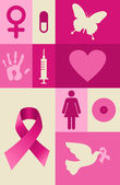 Breast cancer awareness elements set — Stock Vector