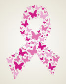 Butterfly in breast cancer awareness ribbon — Stock Vector