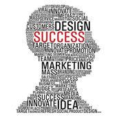 Marketing success head communication — Stock Vector