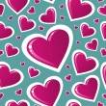 Valentine pink love heart pattern — Stock Vector