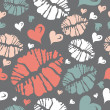 Kiss print and heart pattern — Stock Vector