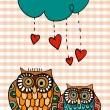 Valentine two owls under love rain — Stock Vector