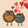 Stock Vector: Valentine owl couple in love