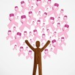 Stock Vector: Breast cancer awareness tree