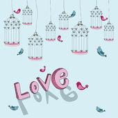 Valentine free bird love background — Stock Vector