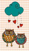 Valentine two owls under love rain — Stock Vector