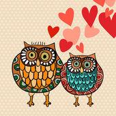 愛バレンタイン フクロウのカップル — ストックベクタ