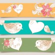 Valentine love birds and blossom banner set — Stock Vector