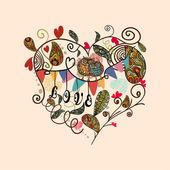 Valentine cute lovely heart card — Stock Vector