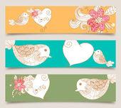 バレンタインの愛の鳥と花バナー セット — ストックベクタ