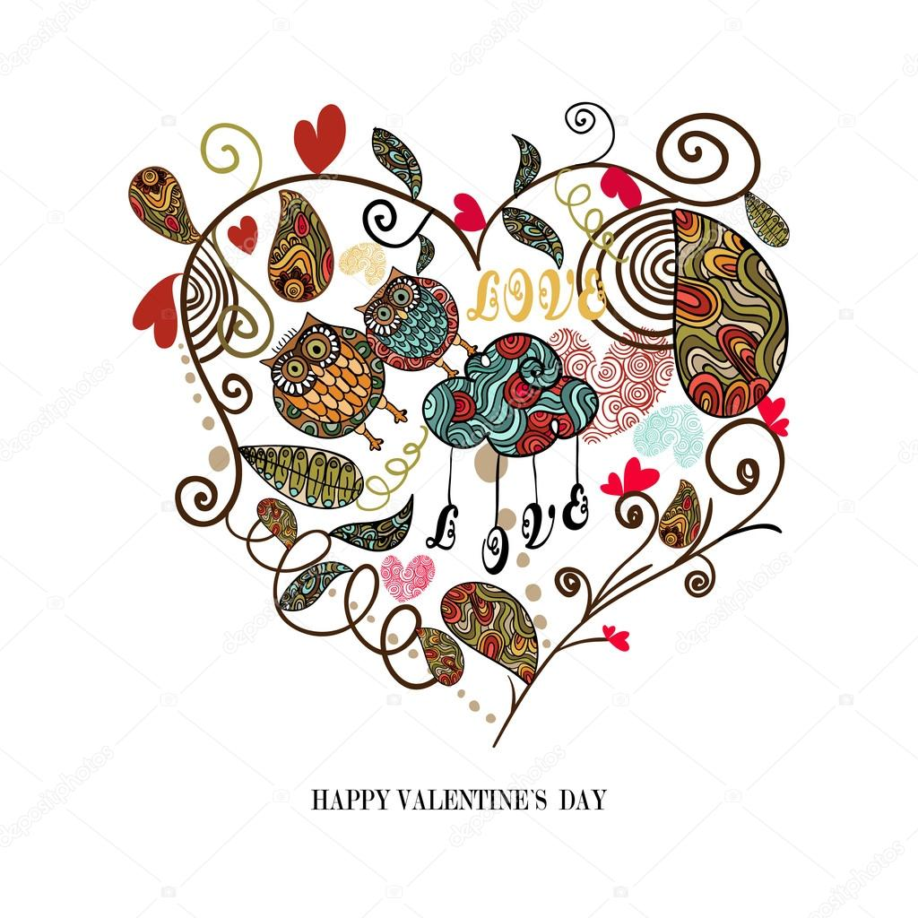 Valentine day cute heart with plants and owls couple isolated over white. Vector illustration layered for easy manipulation and custom coloring.  Stock Vector #20062997